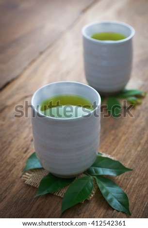cups of green tea - stock photo