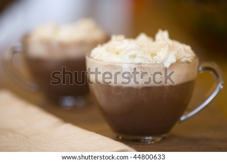 Cups of hot cocoa - stock photo