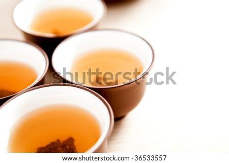 Cups of traditional jasmine tea. - stock photo