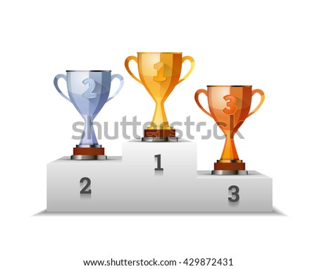 Cups of winners award on white podium isolated on white - stock photo