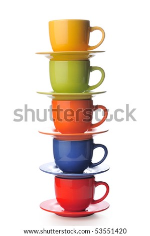 Cups on a white background