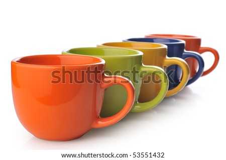 Cups on a white background - stock photo