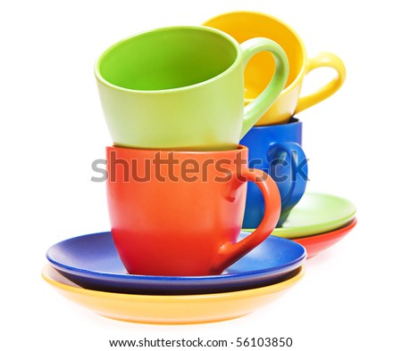 cups on white - stock photo