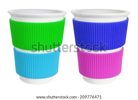 Cups with White Background - stock photo