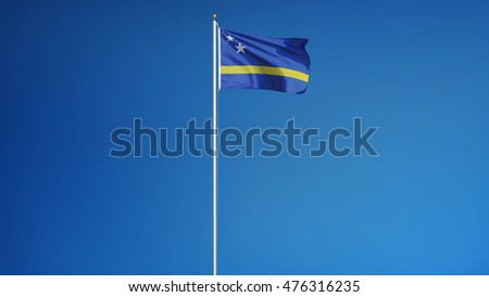 Curacao flag waving against clean blue sky, long shot, isolated with clipping mask alpha channel transparency
