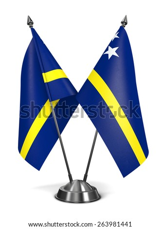 Curacao - Miniature Flags Isolated on White Background. - stock photo