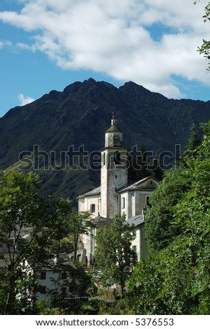 Curch of mountain village, west Alps, Italy.