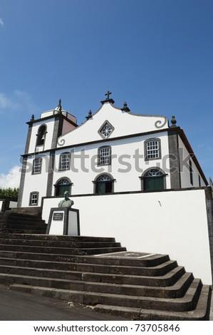 Curch of S. Joao Baptista - St. John the Baptist - Pico island, Azores - stock photo