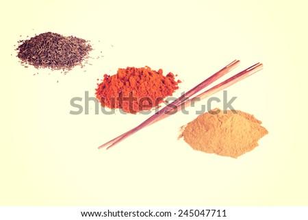 Curcuma or curry pepper, chili pepper spices. - stock photo
