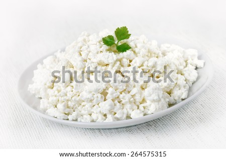 Curd cheese on white plate, close up view - stock photo