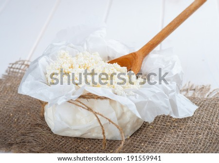 curd in the paper - stock photo