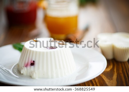 curd jelly with fruit filling  - stock photo