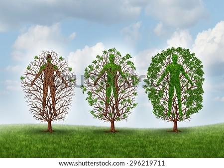 Cure and recovery concept and healing through rehabilitation therapy symbol as an empty tree gradually growing healthy leaves as an icon for medical care and medicine helping the human body recover. - stock photo
