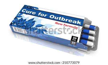 Cure for Outbreak   -Blue Open Blister Pack of Pills Isolated on White.