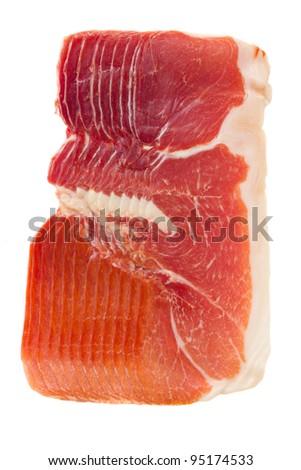 cured ham - jamon isolated on white background - stock photo