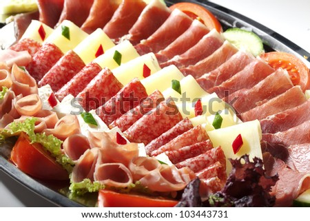 cured meats and cheese selection