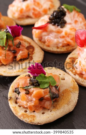 Canape selection on slate platter stock photo 178810184 for Smoked trout canape