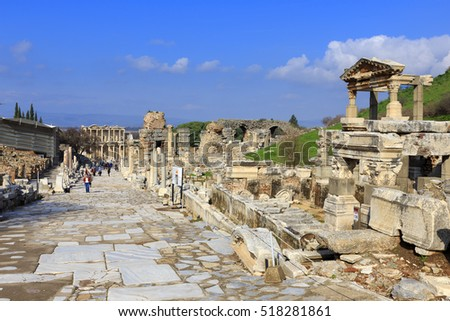 Curetes street in Ephesus, the ancient Greek city in Turkey. Ephesus was famed for the Temple of Artemis one of the Seven Wonders of the Ancient World.