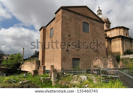 Curia Julia, official meeting place of the Roman Senate (built by Julius Caesar, 44 BC; later reconstruction by Diocletian, 305 AD) - stock photo