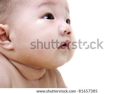 Curious Asian Baby is drooling - stock photo