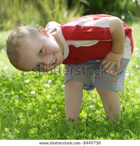 Curious boy - stock photo