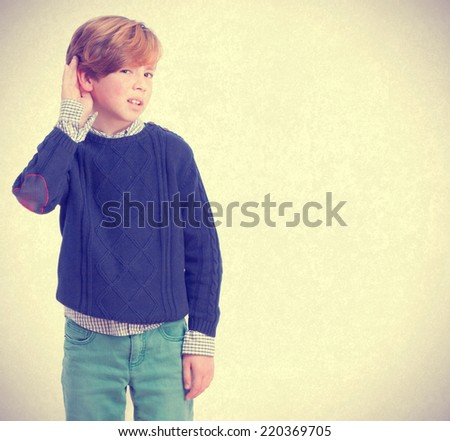 Curious child listening gesture - stock photo