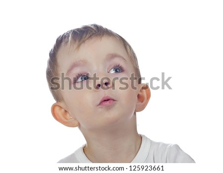 curious cute fun baby boy isolated - stock photo