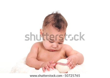 Curious Infant Boy Gazing at a Baseball on White Background - stock photo