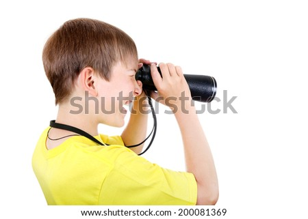 Curious Kid with Monocle Isolated on the White Background - stock photo