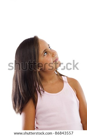 Curious Little Girl Looking Up - stock photo