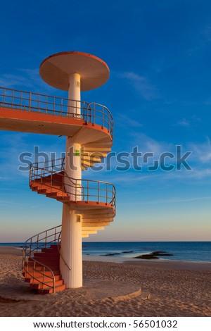 Curious stairs of snail on the beachb of Saint Maria on Cadiz - stock photo