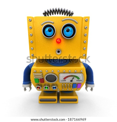 Curious toy robot leaning forward to look at something with shallow depth of field. Selective focus on the eyes. - stock photo