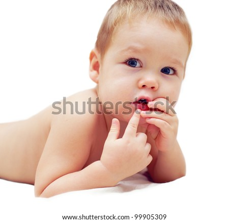 curious wondering baby boy isolated on white - stock photo
