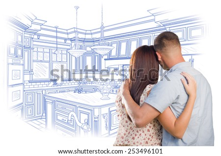 Curious Young Military Couple Looking Over Custom Kitchen Design Drawing. - stock photo