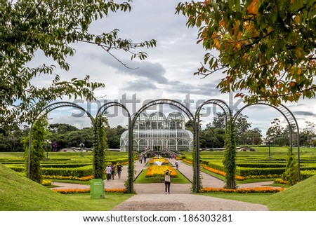 CURITIBA, BRAZIL - APRIL 2: Curitiba's Botanic Garden is a landmark and sightseeing of Parana in Brazil. Photographed with locals and tourists enjoying themselves on April 2, 2014. - stock photo