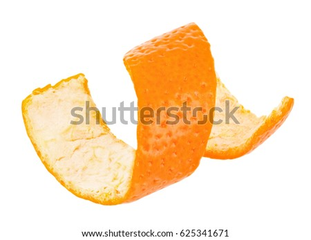 Curl mandarin peel isolated on white background