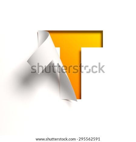 Curl paper font letter T - stock photo