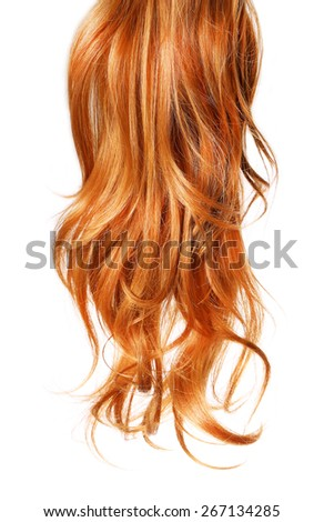 curl  Red Hair isolated on white background - stock photo