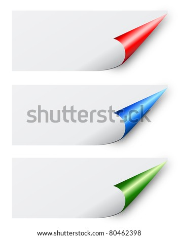 Curled blank labels - stock photo