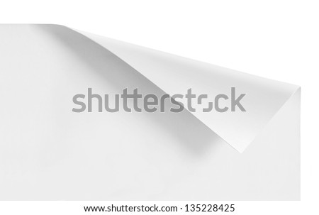 curled corners of white sheet paper isolated - stock photo