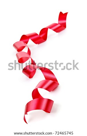 Curled red holiday ribbon strip isolated on white background - stock photo