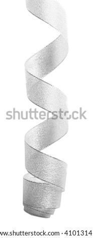 Curled ribbon, isolated on white - stock photo