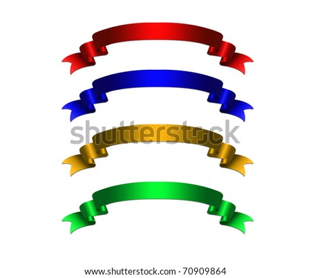 curled ribbons set illustration - stock photo