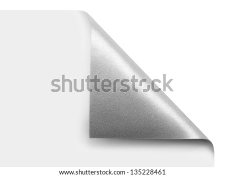 Curled silver page corner ready for your design - stock photo