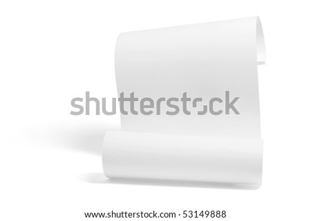 Curled Up Paper on White Background - stock photo