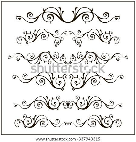 Curled Victorian calligraphic design frame elements. Design vintage set. - stock photo