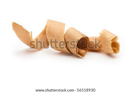 Curled wooden shavings isolated on white. - stock photo