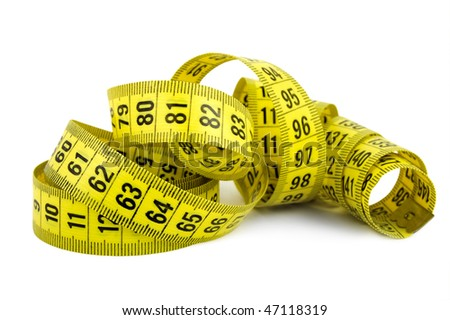 Curled yellow measuring tape on white background