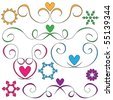 curls and hearts ornaments over white background - stock photo