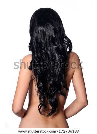 Curly Black Hair. Back side of young brunette woman isolated on white. Hair care - stock photo